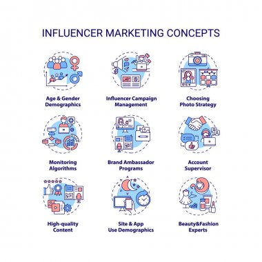 Influencer marketing concept icons set. Influencer campaign management idea thin line RGB color illustrations. Age and gender demographics. Vector isolated outline drawings. Editable stroke icon