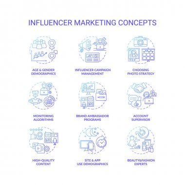 Influencer marketing concept icons set. Campaign management idea thin line RGB color illustrations. High-quality content. Monitoring algorithm. Account supervisor. Vector isolated outline drawings icon