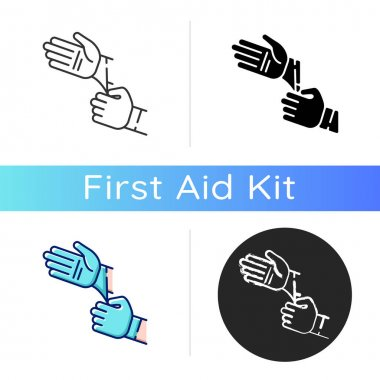 Disposable sterile gloves icon. Sanitary equipment for surgery. First aid. Sanitation precaution for laboratory. Infection prevention. Linear black and RGB color styles. Isolated vector illustrations icon