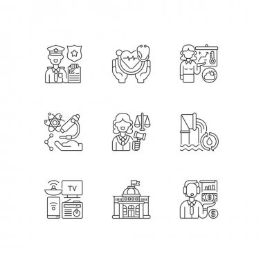 Routine services linear icons set. Public safety. Public health. First responders. Weather forecasters. Customizable thin line contour symbols. Isolated vector outline illustrations. Editable stroke icon