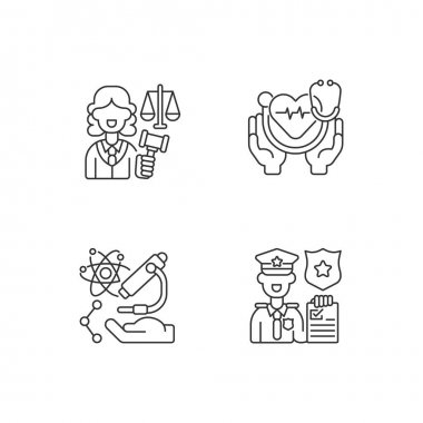 Critical services linear icons set. Justice sector. Health care. Human services. Research. Judiciary. Customizable thin line contour symbols. Isolated vector outline illustrations. Editable stroke icon