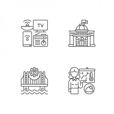 Core services linear icons set. Electronic devices. Political power. Construction. Weather forecasters. Customizable thin line contour symbols. Isolated vector outline illustrations. Editable stroke icon