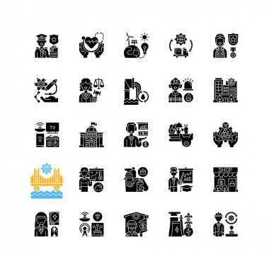Essential services black glyph icons set on white space. Key industries. Hospitals and other healthcare. Electricity and water supply. Law enforcement. Silhouette symbols. Vector isolated illustration icon