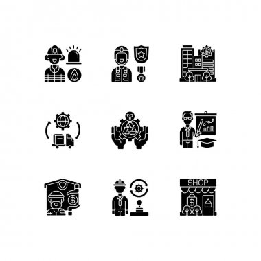 Key services black glyph icons set on white space. Firefighting. Public safety. Bank. Essential workers. Environmental services. Educators. Silhouette symbols. Vector isolated illustration icon