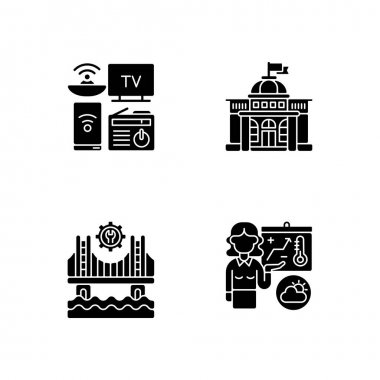 Core services black glyph icons set on white space. Electronic devices. Political power. Construction. Weather forecasters. Modern gadgets. Government. Silhouette symbols. Vector isolated illustration icon