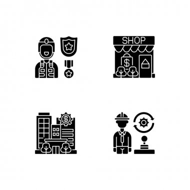Vital services black glyph icons set on white space. Defence industry. Small business. Banks and financial institutions. Transportation and logistics. Silhouette symbols. Vector isolated illustration icon