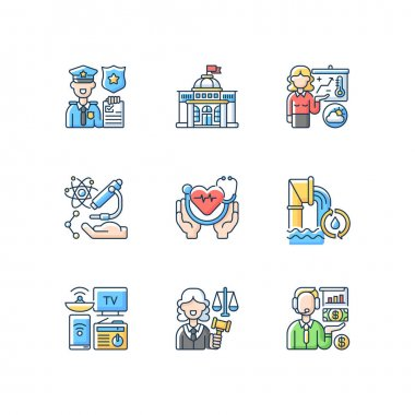 Routine services RGB color icons set. Public safety. Public health. First responders. Weather forecasters. Research. Water and wastewater. Financial activities. Isolated vector illustrations icon