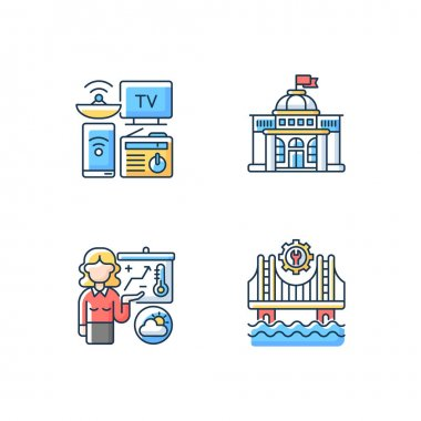 Core services RGB color icons set. Electronic devices. Political power. Construction. Weather forecasters. Modern gadgets. Barometric pressure. Building bridge. Isolated vector illustrations icon