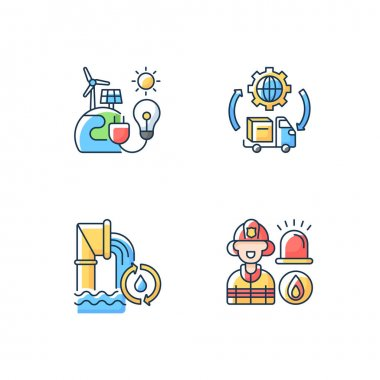 Basic services RGB color icons set. Renewable-energy facilities. Water and wastewater. Firefighting. Transportation and logistics. Truck. Protecting public health. Isolated vector illustrations icon
