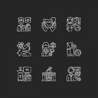 Routine services chalk white icons set on black background. Public safety. Public health. First responders. Weather forecasters. Research. Water, wastewater. Isolated vector chalkboard illustrations icon