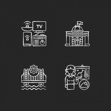 Core services chalk white icons set on black background. Electronic devices. Political power. Construction. Weather forecasters. Modern gadgets. Government. Isolated vector chalkboard illustrations icon