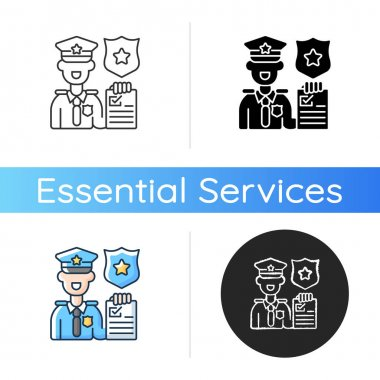Law enforcement icon. Police officer. Cop. Sheriff. Maintaining public order and safety. Lives and property protection. Linear black and RGB color styles. Isolated vector illustrations icon