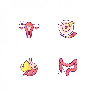 Abdominal inflammation RGB color icons set. Ectopic pregnancy. Acute pain. Heartburn. Constipation. Stomach infection. Fallopian tube. Acid reflux. Hemorrhoids. Illness. Isolated vector illustrations icon