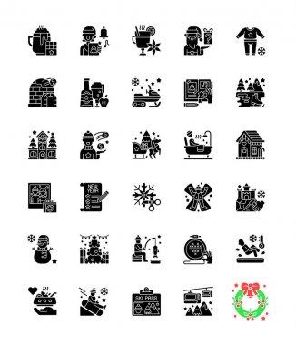Winter fun black glyph icons set on white space. Snow angel. Ice skating. Seasonal recreation activity. Christmas holiday. Festive season. Silhouette symbols. Vector isolated illustration icon
