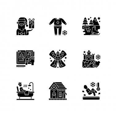 Festive season black glyph icons set on white space. Secret Santa. Pajama night. Ice skating. DIY scrapbooking. Snow angel. Christmas holiday. Silhouette symbols. Vector isolated illustration icon
