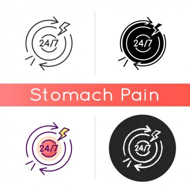 Chronic abdominal pain icon. Recurring condition. Stomach infection. Digestive system. Gastroenteritis. Burning, aching sensation. Linear black and RGB color styles. Isolated vector illustrations icon
