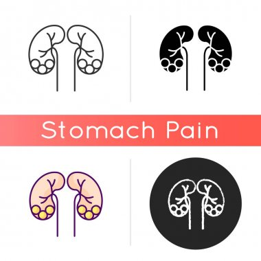 Kidney stone disease icon. Dissolved minerals and salts. Urolithiasis. Blocked ureter. Waste products in blood. Kidney infection. Linear black and RGB color styles. Isolated vector illustrations icon