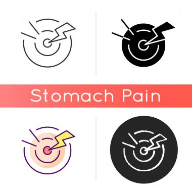 Acute pain icon. Sudden and severe feeling in abdomen. Stomach infection. Digestive disorders. Gastroenteritis. Menstrual cramps. Linear black and RGB color styles. Isolated vector illustrations icon