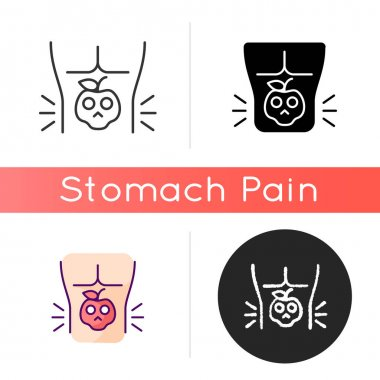 Food poisoning icon. Foodborne illness. Stomachache sickness. Cramping. Eating contaminated food. Chronic digestive problems. Linear black and RGB color styles. Isolated vector illustrations icon