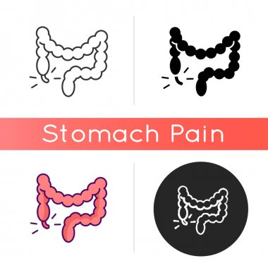 Appendicitis icon. Appendix inflammation. Pain in lower right abdomen. Digestive disorder. Large intestine. Swollen belly. Infection. Linear black and RGB color styles. Isolated vector illustrations icon