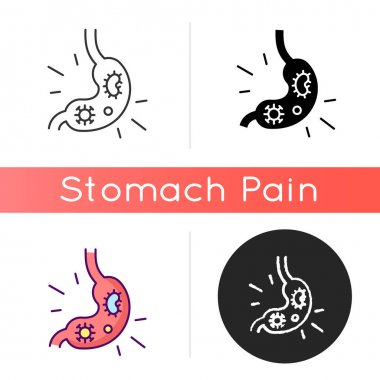 Stomach virus icon. Viral gastroenteritis. Intestinal infection. Diarrhea. Gastric flu. Food poisoning symptom. Bacterial tummy bug. Linear black and RGB color styles. Isolated vector illustrations icon