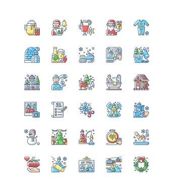 Winter fun RGB color icons set. Snow angel. Ice skating. Secret Santa. Mulled wine. Snowman, snowflake. Seasonal recreation activity. Christmas holiday. Festive season. Isolated vector illustrations icon