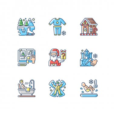 Festive season RGB color icons set. Secret Santa. Pajama night. Ice skating. DIY scrapbooking. Snow angel. Christmas holiday. Pajama parrty. Polar bear plunge. Isolated vector illustrations icon