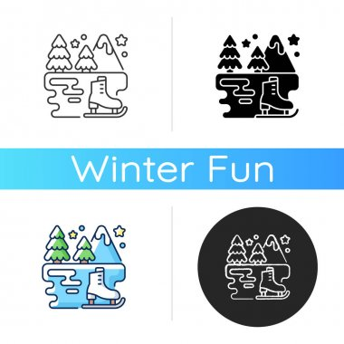 Outdoor ice skating icon. Outside rink. Winter fun. Seasonal entertainment. Festive holiday recreation activity. Xmas pastime. Linear black and RGB color styles. Isolated vector illustrations icon