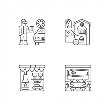 Drive thru services linear icons set. Covid test on quarantine. Prayer booth. Drive through liquor store. Customizable thin line contour symbols. Isolated vector outline illustrations. Editable stroke icon