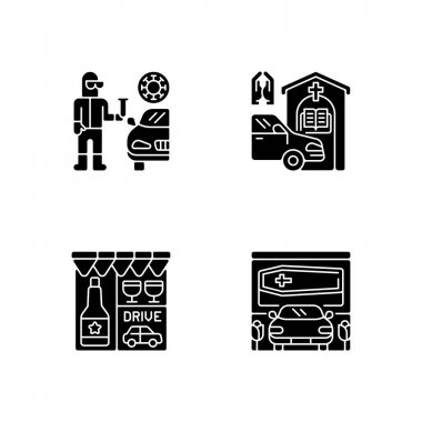 Drive thru services black glyph icons set on white space. Covid test on quarantine. Prayer booth. Drive through liquor store. Funeral home. Silhouette symbols. Vector isolated illustration icon