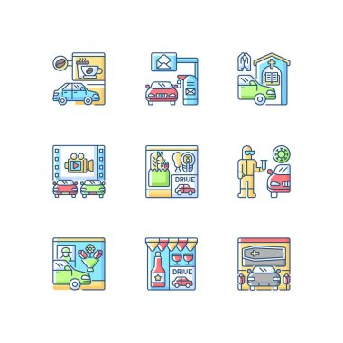 Drive in services RGB color icons set. Groceries supermarket. Mailbox for driver. Coffee shop takeaway. Drink takeout. Movie theater for auto. Covid test. Food take out. Isolated vector illustrations icon