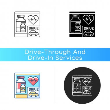 Drive through pharmacy icon. Express drugstore. Health care service. Medication store with transport lane. Car near medical shop. Linear black and RGB color styles. Isolated vector illustrations icon