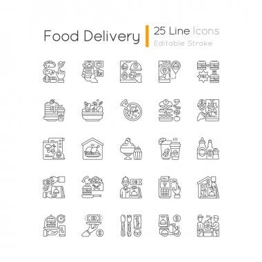 Food delivery linear icons set. Courier service. Online ordering. Limiting exposure to coronavirus. Customizable thin line contour symbols. Isolated vector outline illustrations. Editable stroke icon