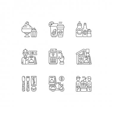 Delivery and takeout linear icons set. Drinks and beverages. Condiments and sauces. Ready-made dishes. Customizable thin line contour symbols. Isolated vector outline illustrations. Editable stroke icon