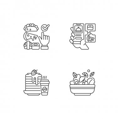 Delivering groceries, pre-prep, pre-made meals linear icons set. Choosing cuisine. Food delivery app. Customizable thin line contour symbols. Isolated vector outline illustrations. Editable stroke icon