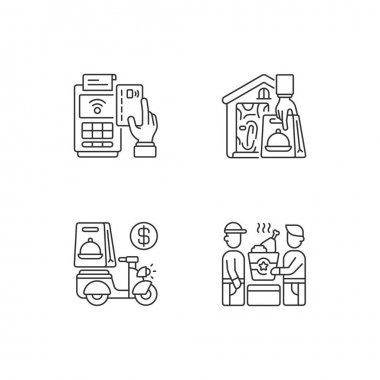 Meal delivery orders linear icons set. Cashless payment. Contactless, contact-free option. Delivery fee. Customizable thin line contour symbols. Isolated vector outline illustrations. Editable stroke icon