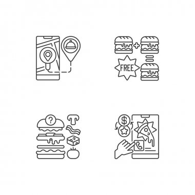 Delivering food to customer linear icons set. Real-time order tracking. Special offers. Food constructor. Customizable thin line contour symbols. Isolated vector outline illustrations. Editable stroke icon