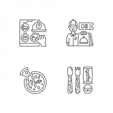 Restaurant delivery service linear icons set. Free delivery coupon. Choosing restaurant. Pizza. Customizable thin line contour symbols. Isolated vector outline illustrations. Editable stroke icon