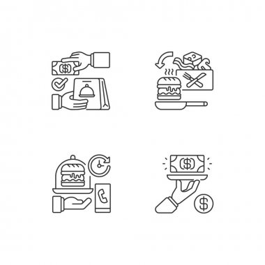 Online food ordering linear icons set. Cash on delivery. Cooking-for-yourself thing. Gratuity charge. Customizable thin line contour symbols. Isolated vector outline illustrations. Editable stroke icon
