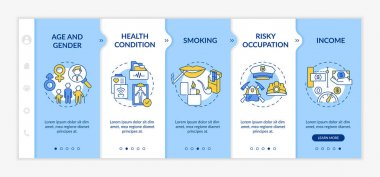 Insurance cost factors onboarding vector template. Risky occupation. Income from buying insurances. Responsive mobile website with icons. Webpage walkthrough step screens. RGB color concept icon