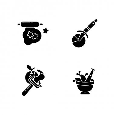 Kitchen utensils black glyph icons set on white space. Cookie cutter. Pizza wheel knife. Vegetable peeler. Mortar and pestle. Household tools. Silhouette symbols. Vector isolated illustration icon