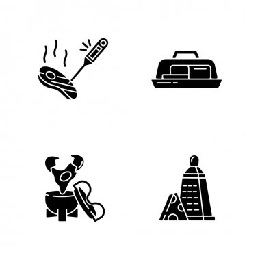 Kitchen appliance black glyph icons set on white space. Food thermometer. Measure meat temperature. Butter dish. Egg coddler. Cheese grater. Silhouette symbols. Vector isolated illustration icon