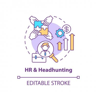 HR and headhunting concept icon. Top business consulting service idea thin line illustration. Human resources. Finding talent for employers. Vector isolated outline RGB color drawing. Editable stroke icon