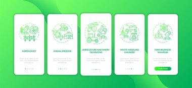 Top agriculture careers onboarding mobile app page screen with concepts. Farm business manager walkthrough 5 steps graphic instructions. UI vector template with RGB color illustrations icon