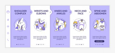 Kinesiology taping onboarding vector template. Prevent sport injury. Physical treatment. Physiotherapy. Responsive mobile website with icons. Webpage walkthrough step screens. RGB color concept icon