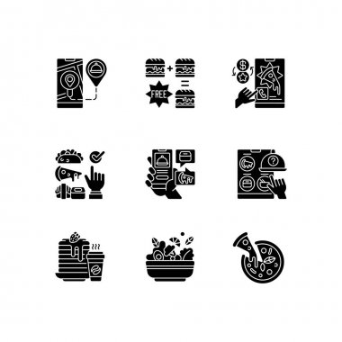 Food delivery service black glyph icons set on white space. Real-time order tracking. Special offers. Choosing cuisine. Menu online. Salad, pizza. Silhouette symbols. Vector isolated illustration icon