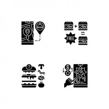 Delivering food to customer black glyph icons set on white space. Real-time order tracking. Special offers. Putting ingredients together. Silhouette symbols. Vector isolated illustration icon