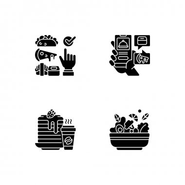 Delivering groceries, pre-prep, pre-made meals black glyph icons set on white space. Choosing cuisine. Food delivery app. Well-balanced morning dish. Silhouette symbols. Vector isolated illustration icon