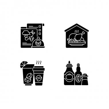 Online restaurant delivery black glyph icons set on white space. Vegan menu. Home-cooked meals. Drinks and beverages. Condiments and sauces. Silhouette symbols. Vector isolated illustration icon