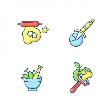 Kitchen utensils RGB color icons set. Cookie cutter. Dough for baking. Pizza wheel knife. Vegetable peeler. Mortar and pestle. Mic condiments. Household tools. Isolated vector illustrations icon